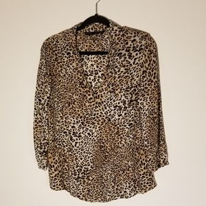 Zara leopard print 3/4 sleeve blouse